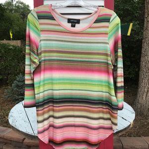 Karen Kane Striped Tunic Top Size Large NWT